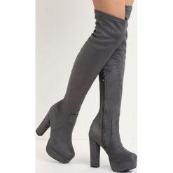 Ciemnoszare Kozaki Tearaway. Szare buty zimowe damskie marki Born2be, z materiału, na wysokim obcasie, na słupku. Za 149,99 zł.