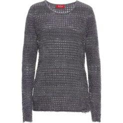 Sweter z lureksową nitką, długi rękaw bonprix szaro-srebrny. Niebieskie swetry klasyczne damskie marki bonprix, z nadrukiem. Za 79,99 zł.