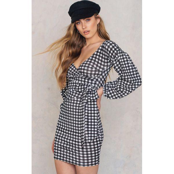 ce41ebf224 Boohoo Sukienka Gingham z marszczonymi rękawami - Multicolor - Szare ...