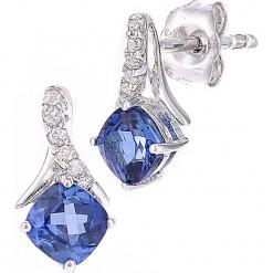 Złote kolczyki-wkrętki z diamentami i tanzanitami. Niebieskie kolczyki damskie REVONI, z diamentem, złote. W wyprzedaży za 517,95 zł.