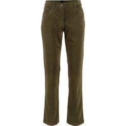 Spodnie sztruksowe ze stretchem bonprix ciemnooliwkowy. Zielone rurki damskie marki bonprix, ze sztruksu, z obniżonym stanem. Za 79,99 zł.