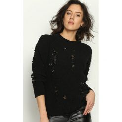 Swetry klasyczne damskie: Czarny Sweter Rebel