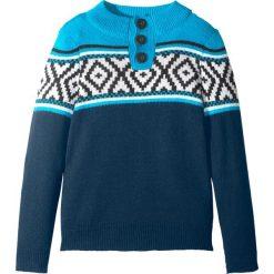 Sweter norweski z guzikami bonprix ciemnoniebiesko-naturalny melanż- turkusowy. Szare swetry chłopięce marki bonprix, l, melanż. Za 37,99 zł.