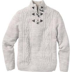 Swetry męskie: Sweter w warkocze Regular Fit bonprix jasnoszary melanż