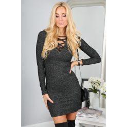 Sukienki hiszpanki: Czarna Sukienka z Wiązanym Dekoltem 9491