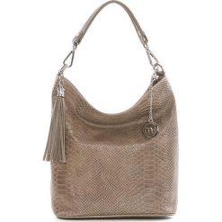 Skórzana torebka w kolorze szarobrązowym - 26 x 28 x 12 cm. Brązowe shopper bag damskie Best of Italian Bags, w paski, ze skóry. W wyprzedaży za 192,95 zł.