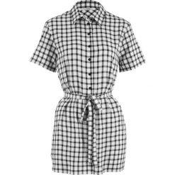 Bluzki damskie: Długa bluzka z wiązanym paskiem, krótki rękaw bonprix biało-czarny w kratę