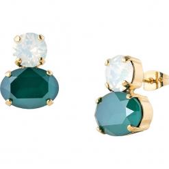 Pozłacane kolczyki-wkrętki z kryształkami Swarovski. Zielone kolczyki damskie Destellos, z kryształem, metalowe. W wyprzedaży za 77,95 zł.