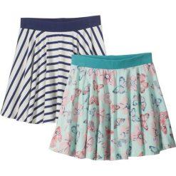 Spódniczka (2 szt.) bonprix w niebieskie paski + pastelowy miętowy wzorzysty. Niebieskie spódniczki dziewczęce marki bonprix, w paski, rozkloszowane. Za 39,98 zł.