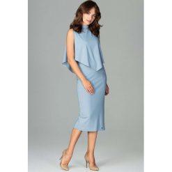 Niebieska Wizytowa Dopasowana Sukienka Midi z Peleryną. Czerwone sukienki asymetryczne marki Molly.pl, l, z jeansu, biznesowe, z dekoltem na plecach, z długim rękawem. Za 159,90 zł.