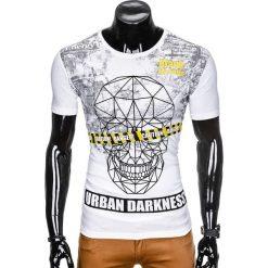 T-SHIRT MĘSKI Z NADRUKIEM S933 - BIAŁY. Czarne t-shirty męskie z nadrukiem marki Ombre Clothing, m, z bawełny, z kapturem. Za 19,99 zł.