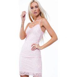 Sukienka na ramiączkach w bieliźnianym stylu jasnoróżowa ZZ283. Czerwone sukienki na komunię marki Fasardi, l. Za 101,00 zł.