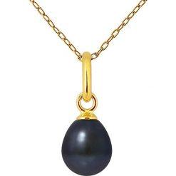 Naszyjniki damskie: Pozłacany naszyjnik z perłą słodkowodną – dł. 42 cm