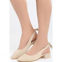 Beżowe Sandały Way Of Love. Brązowe sandały damskie na słupku Born2be, z materiału, na wysokim obcasie. Za 69,99 zł.