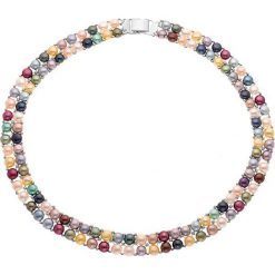 Naszyjniki damskie: Naszyjnik z kolorowym wzorem z pereł – dł. 40 cm
