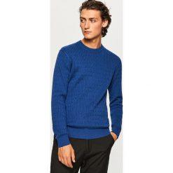Sweter - Niebieski. Niebieskie swetry klasyczne męskie marki bonprix, l, melanż, z kapturem. Za 99,99 zł.
