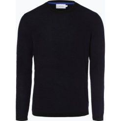 Calvin Klein - Sweter męski z dodatkiem wełny merino, niebieski. Niebieskie swetry klasyczne męskie marki Calvin Klein, m, z dzianiny, z kontrastowym kołnierzykiem. Za 449,95 zł.
