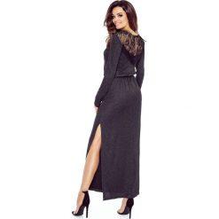 TEREZE sukienka przysłaniająca niedoskonałości CZARNY BŁYSK. Czarne długie sukienki Bergamo, z materiału, wizytowe, z długim rękawem. Za 249,99 zł.