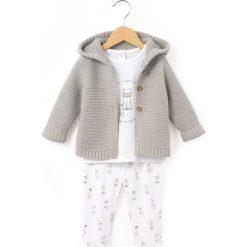 Zestaw spodnie i bluza z kapturem, z nadrukiem. Szare bluzy niemowlęce marki La Redoute Collections, z nadrukiem, z bawełny, z długim rękawem, długie, z kapturem. Za 117,56 zł.