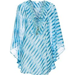 Tunika plażowa bonprix niebieski. Niebieskie tuniki damskie bonprix, na plażę, ze sznurowanym dekoltem. Za 89,99 zł.