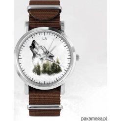 Zegarki męskie: Zegarek – Wilk – brązowy, nato