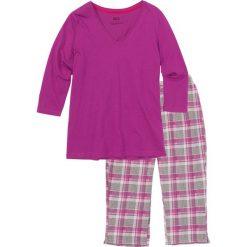 Bielizna nocna: Piżama ze spodniami 3/4 bonprix różowy w kratę