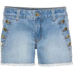 Bermudy damskie: Szorty dżinsowe z guzikami bonprix jasnoniebieski denim
