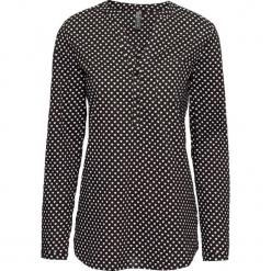 Bluzka z nadrukiem w serduszka bonprix czarno-biały z nadrukiem. Czarne bluzki z odkrytymi ramionami marki bonprix, w grochy, z wełny, z dekoltem w serek. Za 74,99 zł.