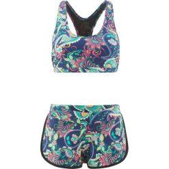 Stroje kąpielowe damskie: Bikini z biustonoszem bustier (2 części) bonprix niebiesko-turkusowo-jasnoróżowy