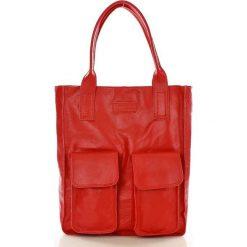 Shopper bag damskie: Torebka shopper z kieszeniami czerwona MELODY