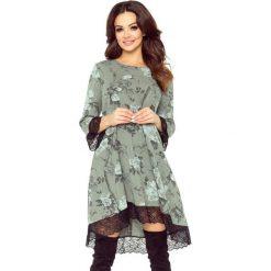 Odzież damska: Reina - sukienka trapezowa khaki gałązka