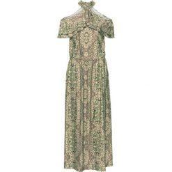 Sukienka z odsłoniętymi ramionami bonprix ciemnooliwkowy z nadrukiem. Brązowe sukienki z falbanami marki DOMYOS, xs, z bawełny. Za 149,99 zł.