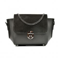 Skórzana torebka w kolorze szaro-czarnym - (S)31 x (W)22 x (G)10 cm. Czarne torebki klasyczne damskie Akcesoria na sylwestrową noc, z materiału. W wyprzedaży za 219,95 zł.