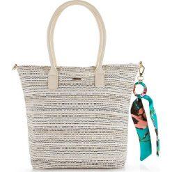 Torebka damska 86-4Y-564-9. Brązowe torby plażowe Wittchen, w paski, z satyny. Za 139,00 zł.