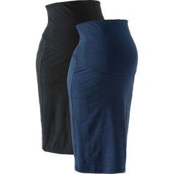 Spódnica ciążowa z dżerseju (2 szt.) bonprix czarny + ciemnoniebieski. Czarne spódnice ciążowe marki bonprix, z dżerseju, eleganckie, moda ciążowa, dopasowane. Za 75,98 zł.