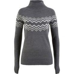 Sweter bonprix szary melanż - biel wełny. Białe swetry klasyczne damskie bonprix, z wełny. Za 74,99 zł.