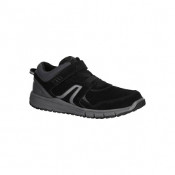 Skórzane buty męskie do szybkiego marszu HW 140 Strap w kolorze czarnym. Czarne buty fitness męskie marki NEWFEEL, z gumy. Za 129,99 zł.