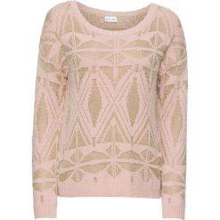 Swetry klasyczne damskie: Sweter z połyskującą metaliczną nitką bonprix różowy