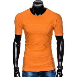 T-SHIRT MĘSKI BEZ NADRUKU S962 - POMARAŃCZOWY. Brązowe t-shirty męskie z nadrukiem marki Ombre Clothing, m. Za 29,00 zł.