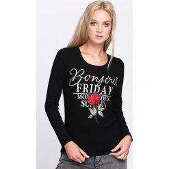 Czarna Bluzka Change It. Czarne bluzki longsleeves Born2be, l, z aplikacjami, z okrągłym kołnierzem. Za 24,99 zł.