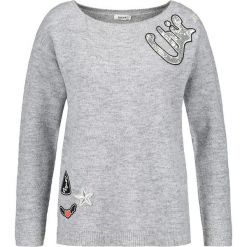 Sweter w kolorze szarym. Szare swetry klasyczne damskie marki Taifun, z wełny, z okrągłym kołnierzem. W wyprzedaży za 130,95 zł.