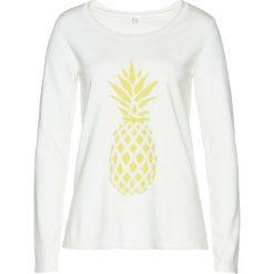 Swetry klasyczne damskie: Sweter bonprix biel wełny – limonka