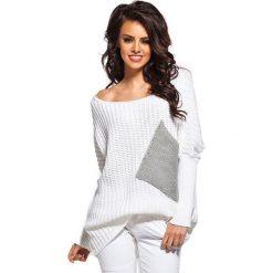 Sweter w kolorze biało-szarym. Białe swetry oversize damskie Lemoniade. Za 89,95 zł.