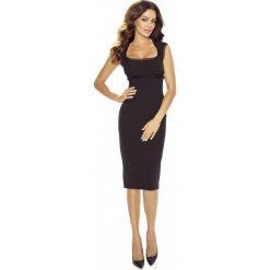 Elegancka Czarna Sukienka Midi. Czarne sukienki balowe Molly.pl, l, z dekoltem na plecach, midi, oversize. Za 169,90 zł.