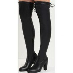 Czarne Kozaki Fall Out of Love. Czarne buty zimowe damskie marki Born2be, z materiału, za kolano, na wysokim obcasie, na słupku. Za 149,99 zł.