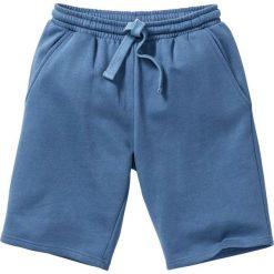Szorty dresowe bonprix niebieski dżins. Niebieskie spodenki i szorty męskie bonprix, w paski, z dresówki. Za 44,99 zł.