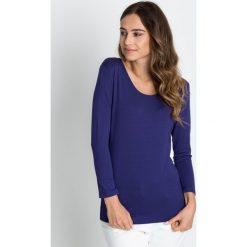 Bluzki asymetryczne: Granatowa klasyczna bluzka z długim rękawem  BIALCON