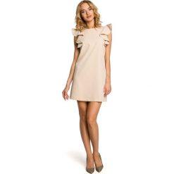 Beżowa Mini Sukienka Tuba z Falbankami na Ramionach. Brązowe sukienki hiszpanki Molly.pl, na co dzień, l, z falbankami, mini. Za 121,90 zł.