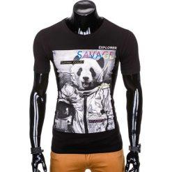 T-shirty męskie: T-SHIRT MĘSKI Z NADRUKIEM S923 – CZARNY