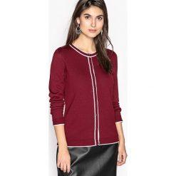 Sweter rozpinany z okrągłym dekoltem, 50% wełny Merynos. Brązowe swetry rozpinane damskie Anne weyburn, z dzianiny. Za 176,36 zł.